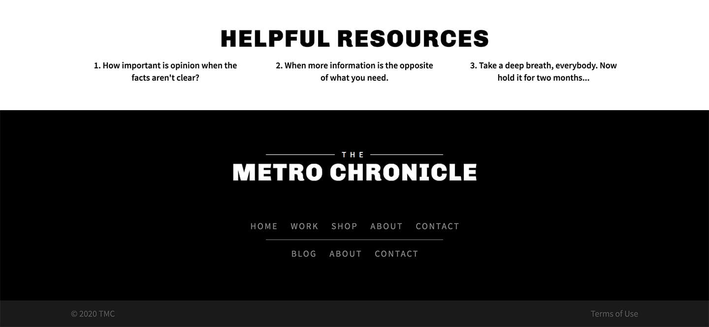 Chronicle Pro Footer Screenshot