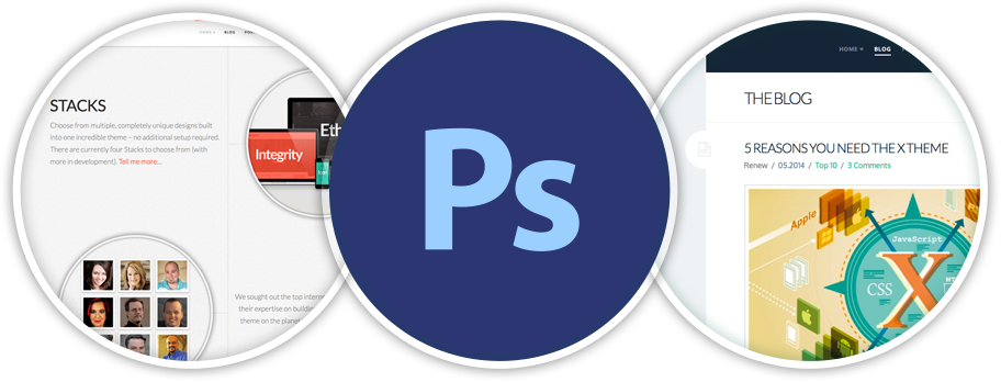 screenshot of photoshop files in X WordPress theme