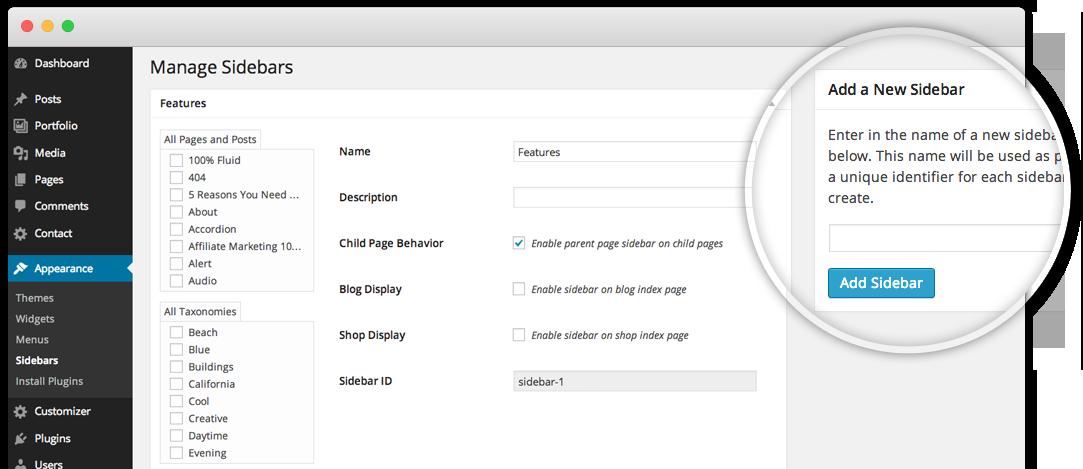 screenshot of sidebar option in X theme