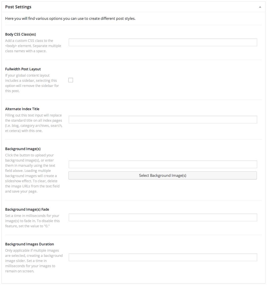 Post Meta Options